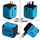 Adaptateur de Voyage avec 2 USB Adaptateur Universel Pris de Courant pour UE/US/UK/AUS Utilisé dans Plus de 150 Pays...