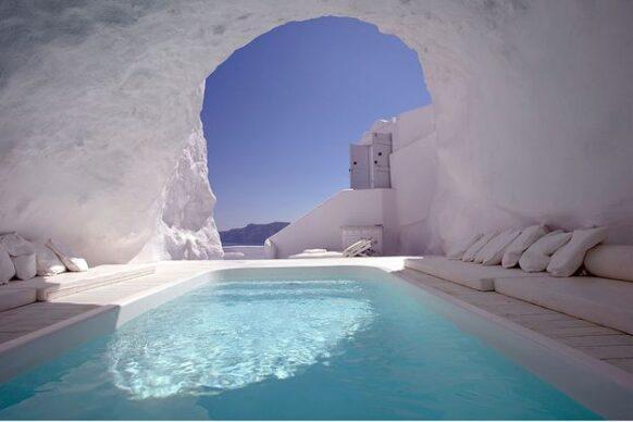 piscine-grotte Katikies Hotel Santorin
